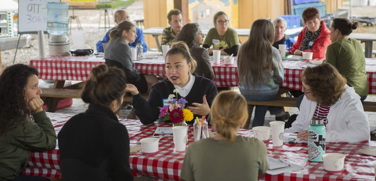 Nonprofit Veggielution held On the Table discussions at its San Jose farm on Nov. 15.