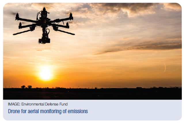 Drone monitoring emissions